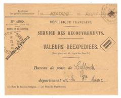 DEVANT De LETTRE 1937 POSTES & TELEGRAPHE N° 1500 VALEURS REEXPEDIEES - MERTAUD CEFFONDS HAUTE MARNE - Marcophilie (Lettres)