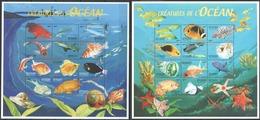 X722 DE DJIBOUTI FISH & MARINE LIFE CREATURES DE L'OCEAN 2SH MNH - Vie Marine