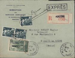 Exprès + Recommandé YT Marianne Gandon 713 X3 567 CAD Mâcon 3 6 45 Tarif Du 1 3 1945 - Marcofilie (Brieven)