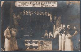 Carte Photo Charcuterie , Prix D'honneur 2ème Prix , Concours Agricole 1907/08 , H. Douvin , Rue Demeurs Tanes  , Animée - Magasins