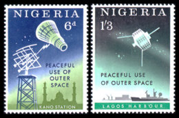 Nigeria, 1963, Peaceful Use Of Outer Space, United Nations, Satellites, MNH, Michel 134-135 - Nigeria (1961-...)