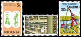 Nigeria, 1974, Freedom From Hunger, FAO, United Nations, MNH, Michel 307-309 - Nigeria (1961-...)