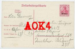 ZIVILARBEITERPOSTKARTE ZAB 08 Ardennes Attigny Hafenamt 24 Landrecies Descornez Leveque Aisne 1918 Nordfrankreich - Guerre 1914-18