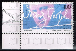 Bund 1995, Michel# 1813 O Franz Werfel (1890-1945), Eckrand - Gebruikt