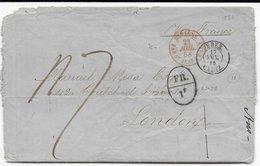 1858 - MARITIME - LETTRE De JEREZ (ESPAGNE) => LONDON VIA FRANCE Avec ENTREE PAR ST JEAN DE JUZ + MARQUE D'ECHANGE FR.1f - Briefe U. Dokumente