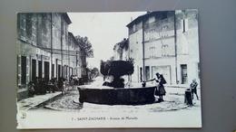 CPA. SAINT ZACHARIE - AVENUE DE MARSEILLE - LA FONTAINE - Carte Animée - 1916 écrite - Saint-Zacharie