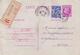 """FRANCE : ENTIER POSTAL . TYPE CERES DE MAZELIN . REC """" ROUBAIX """" . POUR LA BELGIQUE . 1945 . - Postal Stamped Stationery"""