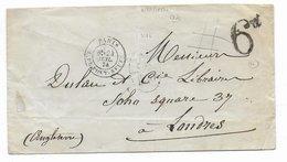 1874 - MARITIME - ENVELOPPE De PARIS => LONDON Avec MARQUE BUREAU D'ECHANGE FR 1F50c BLEU + 6d ANGLAISE - Postmark Collection (Covers)