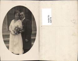 628778,Foto Ak Hochzeit Paar Blumenstrauß Passepartout - Hochzeiten