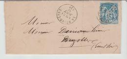 """.EURE : """" LA NEUVE LYRE """" CàD Type 16 / Sage / LAC De 1882 > Brezolles TB - Marcophilie (Lettres)"""