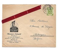 BRD1056 / Posthorn 90 Pfg. 1953 Als Einzelfrankatur Per Eilboten Nach Belgien - Brieven En Documenten