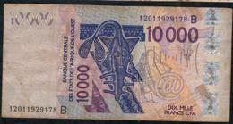 W.A.S. BENIN P218Bl 10000 Or 10.000 FRANCS (20)12  VF NO P.h. - Benin