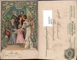 629113,Litho 25 Jahre Silberhochzeit Paar Familie Lithographie Hochzeit - Hochzeiten