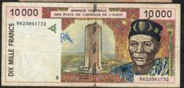 W.A.S. BENIN P2114Bg 10000 Or 10.000 FRANCS (19)98 1998  VF Only 1 P.h. - Benin
