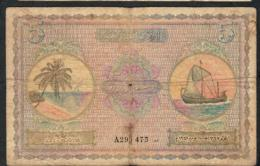 MALDIVES P4a 5  RUFIYAA 1947 #A Signature 1  VG-F - Maldiven