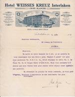 INTERLAKEN - Hôtel Weisses Kreuz, Croix Blanche - Lettre Commerciale 1913 - Suisse