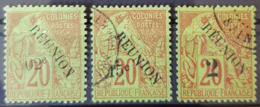 RÉUNION - Canceled - YT 29, 30, 31 - 2c 15c 2c - Réunion (1852-1975)