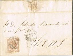 33757. Carta Entera VENDRELL (Tarragona) 1868 A Sans - 1868-70 Gobierno Provisional