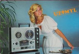 QSL Card Amateur Radio Funkkarte 1993 USSR Moscow Omsk Radioclub Pulsar Russian Lady Girl Russia - Radio Amatoriale