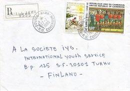 Cameroon Cameroun 1988 Douala Akwa World Cup Football Spain Lions Registered Cover - Kameroen (1960-...)