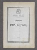 Municipio Di Casale - Regolamento Di Polizia Mortuaria - 1^ Ed. 1878 - Libros, Revistas, Cómics