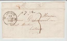 """.EURE : """" LIEUREY """" CàD Type 12 + TM 3 / LAC De 1842 Pour Lisieux  TB - Storia Postale"""