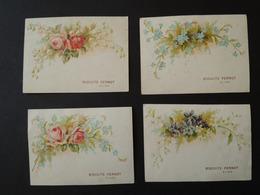 4 CHOMOS.  Biscuits  PERNOT. Dijon. Fleurs. Roses. Myosotis. Violettes - Vieux Papiers