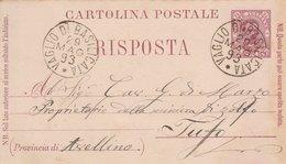 Vaglio Di Basilicata. 1893. Annullo Grande Cerchio VAGLIO DI BASILICATA , Su Cartolina Postale Con Testo. BELLA. - Marcofilie
