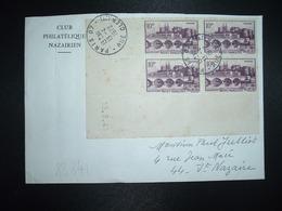 LETTRE TP ANGERS 10F BLOC DE 4 COIN DATE 15.3.41 OBL.13-4 1972 PARIS 07 - 1961-....