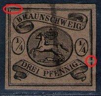 Federzug Auf 1/4 Gute Groschen Braun - Braunschweig Nr. 4 Mit Abart - Kabinett - Tiefst Geprüft - Braunschweig
