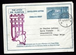 ENVELOPPE-LETTRE BELGIQUE AVEC ILLUSTRATION- SABENA- DE MELSBROEK A LÉOPOLDVILLE- CONGO- 19-9-1951- 2 SCANS - Luftpost