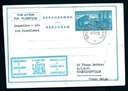 LETTRE AÉROGRAMME BELGIQUE- SABENA- BRUXELLES- LEOPOLDVILLE- COQUILHATVILLE (CONGO) VIA CASABLANCA- 2 SCANS - Luftpost