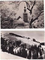 Prix Fixe - Megève - 1952 - Lot De 2 Cartes - Remonte Pente De L'Alpette Et Clocher # 3-19/26 - Megève