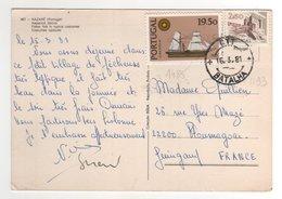 Timbres Yvert N° 1193 , 1485 Sur Cp , Carte , Postcard Du 16/03/1981 Pour La France - 1910-... République