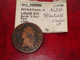 Louis XVI -  Sol 1791 A             Belle Monnaie - 1789-1795 Period: Revolution