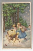 Bonne Année. Deux Enfants Et Deux Faons Dans Une Forêt Enneigée Portent Des Sacs De Jouets. Lanterne. - Nieuwjaar