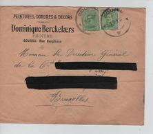 PR6905/ TP 137 (2) S/L.Entête Dominique Berckelaers Peintre C.Fortune Boussu 1919 > BXL C.d'arrivée - Fortune Cancels (1919)