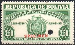 """Bolivia 1951 ** Tipo H&A """"JA"""". Registro De Factura Consular $3.50. SPECIMEN En Rojo Y Perforación De Seguridad. - Bolivia"""