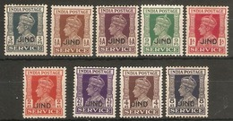INDIA - JIND 1939 - 1943 OFFICIALS SET TO 8a (ex 1½a ) SG  O73/O82 (ex SG O78) MOUNTED MINT Cat £46.45 - Jhind