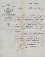 BRASSERIE DE GANNAT - QUIRI & CHAUSSARD à Gannat (Allier) Bières Brune Et Blanche 3/05/1884 Facture Document Signature - Alimentaire