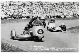 Carte-photo...T.T. Assen...Sidecars...n°4 Helmuth Fath ...BMW...n°10 Winnaar Pip Harris ...BMW...1961..animée... - Sport Moto