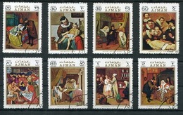 AJMAN - PEINTURES DE SCÈNE DE MÉDECINE. ANNEE 1970 MICHEL 710 / 717, OBLITERES SERIE COMPLETE -LILHU - Arte