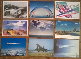 Lot De 9 Cartes Postales / AVION /  CONCORDE - Avions