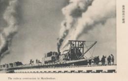 Manchukuo China, Japan Railroad Construction Northern China, C1920s/30s Vintage Postcard - China