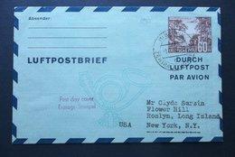 Deutsche Post: 1952 Luftpostbrief FDC To USA (#QS11) - Covers & Documents