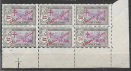 1943 INDE FRANCAISE 209** France Libre , Surchargé, Bloc De 6, Bord De Feuille - Indië (1892-1954)