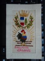 Carte Brodée - Souvenir D'Alsace - Coq Rayonnant. 1917 320° Régiment Secteur 99 - Guerre 1914-18