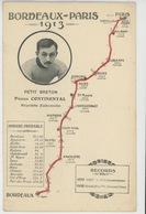 SPORT - CYCLISME - Tracé De La Course PARIS - BORDEAUX 1913 Avec Portrait De PETIT BRETON , Pneus Continental - Cyclisme