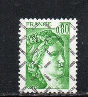 FRANCE N° 1970 0.80 VERT TYPE SABINE PARAOBLITERE - Variétés Et Curiosités