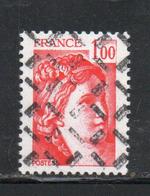 FRANCE N° 1972 1F ROUGE TYPE SABINE PARAOBLITERE - Variétés Et Curiosités